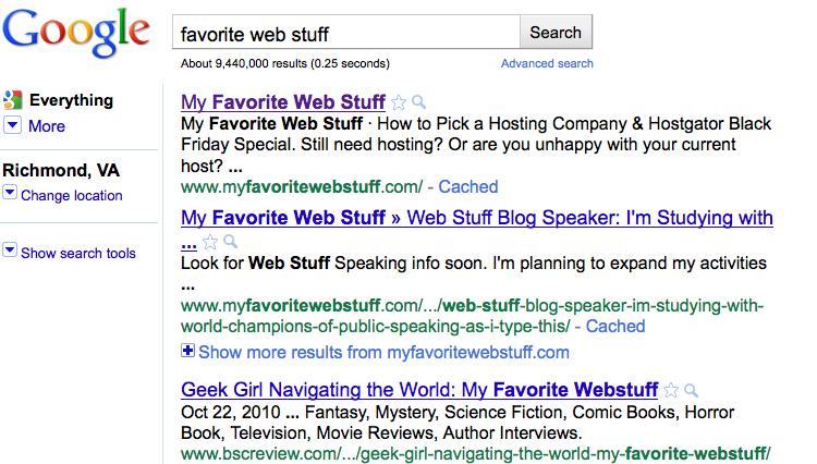 Favorite Web Stuff Number 1 on Google