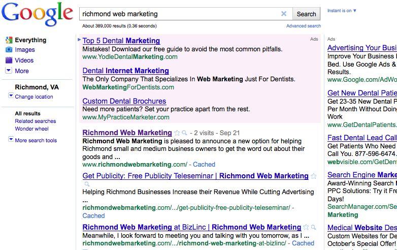 Richmond Web Marketing Top 3 Spots on Google!
