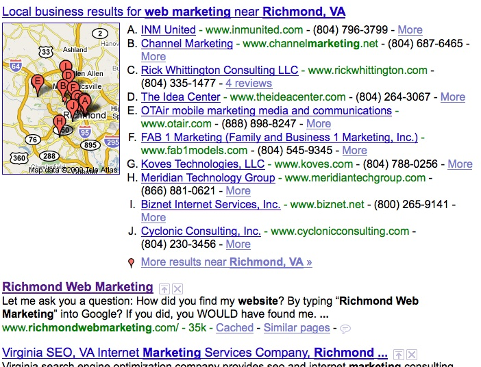 Richmond Web Marketing on Google