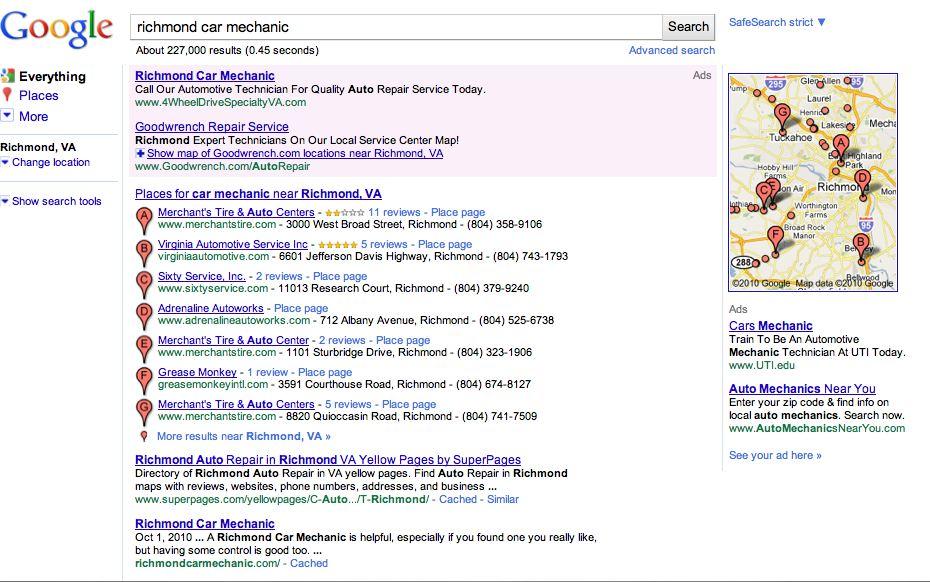 Richmond Car Mechanic on Page 1 on Google